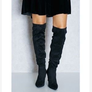 Black Over The Knee Pointy Toe Winter Boots